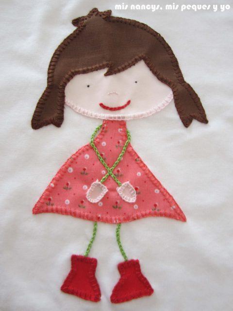 mis nancys, mis peques y yo, tutorial aplique en camiseta muñequita, punto feston terminado