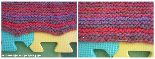 mis nancys, mis peques y yo, Tutorial DIY como bloquear un jersey de lana, sujetar con alfileres sin formar picos