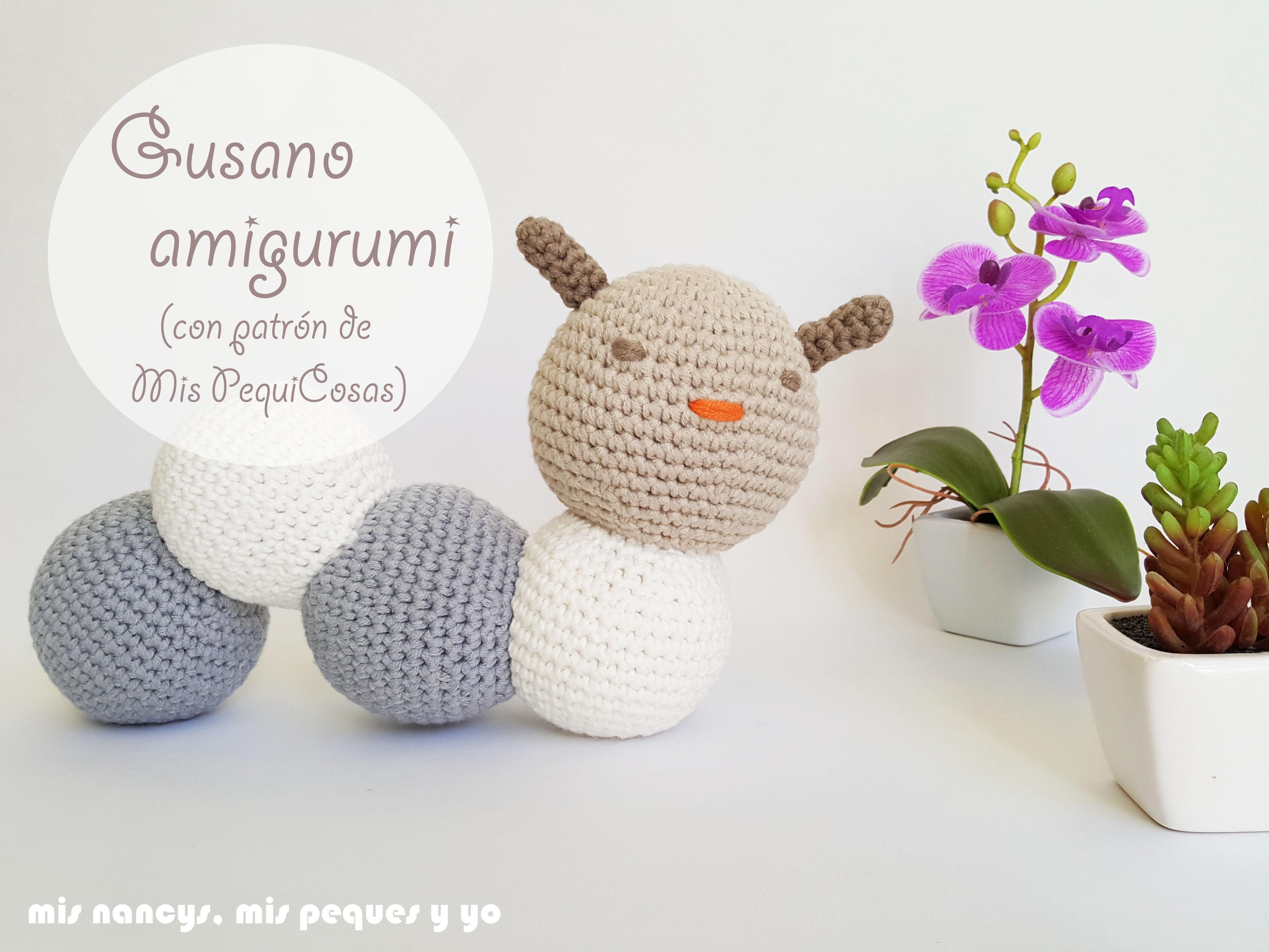 Gusano amigurumi bicolor