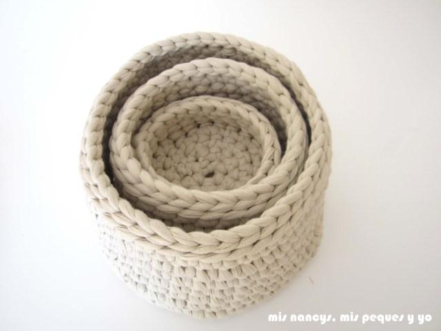 mis nancys, mis peques y yo, juego de tres cestas de trapillo redondas, tres tamaños diferentes