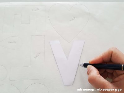 mis nancys, mis peques y yo, tutorial aplique en camiseta love, dibujar flixelina