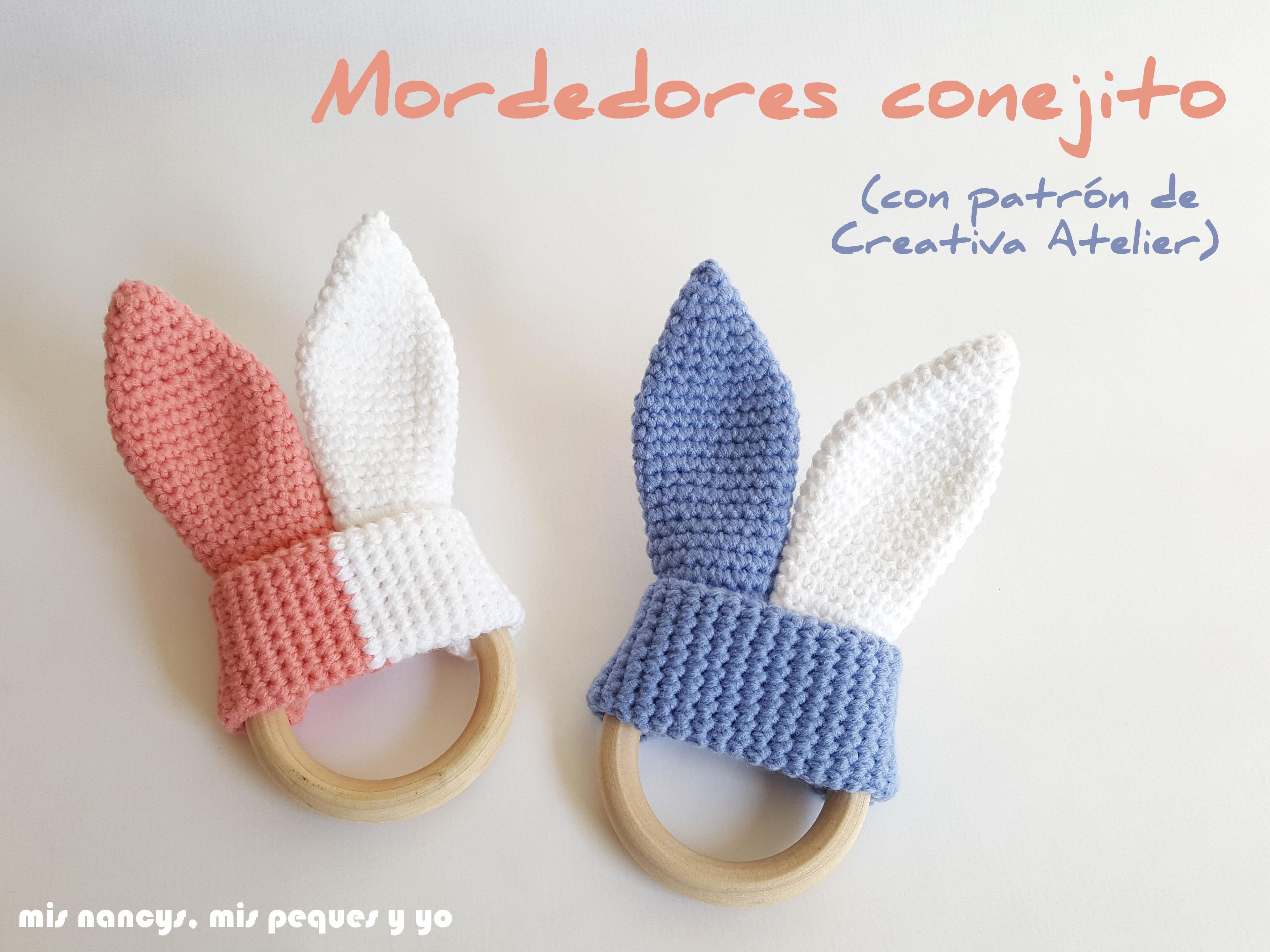 Mordedores conejito de crochet