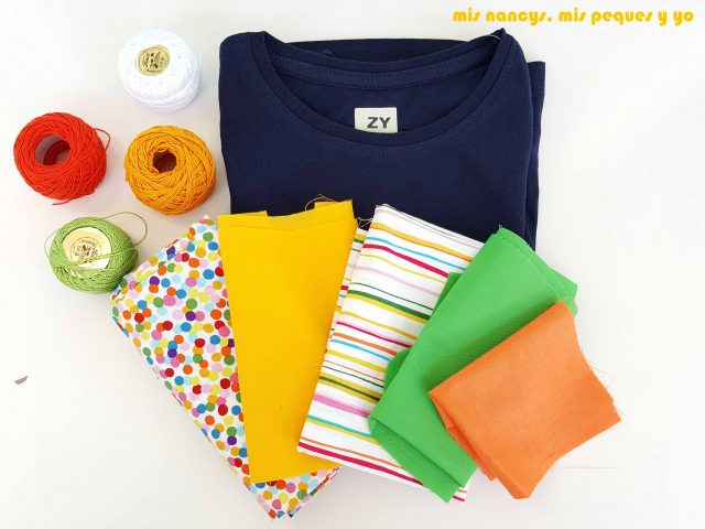 mis nancys, mis peques y yo, tutorial aplique en camiseta merci, materiales