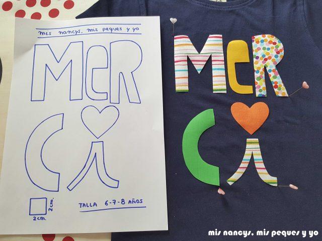 mis nancys, mis peques y yo, tutorial aplique en camiseta merci, colocar letras en alfileres