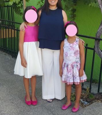 mis nancys, mis peques y yo, blusa de doble capa para mujer, con pantalones palazzo de crepe