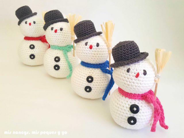 mis nancys, mis peques y yo, muñecos de nieve amigurumi, muñecos de nieve con botones