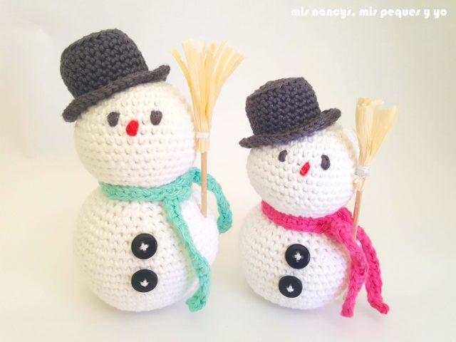 mis nancys, mis peques y yo, muñecos de nieve amigurumi, muñecos de nieve con bufanda fucsia y verde