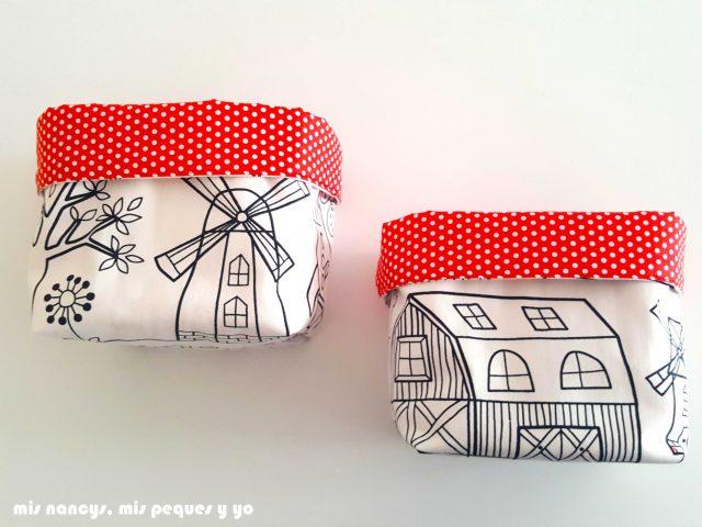 mis nancys, mis peques y yo, cestas de tela reversibles, cesta de tela cuadrada con tela para pintar de Ikea