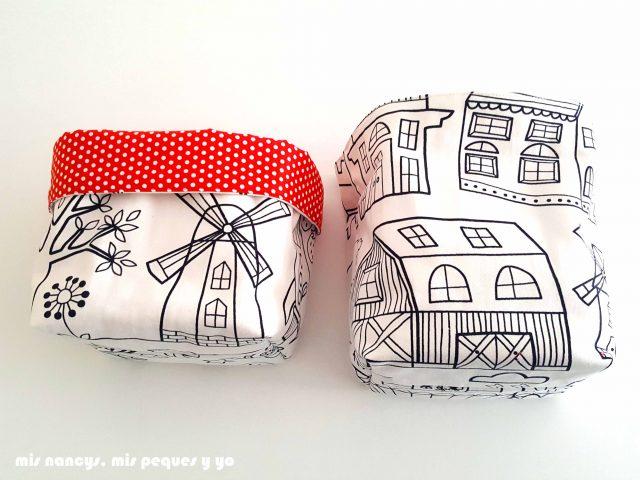 mis nancys, mis peques y yo, cestas de tela reversibles, cesta de tela cuadrada pequeña