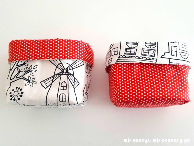 mis nancys, mis peques y yo, cestas de tela reversibles, cesta de tela cuadrada en rojo, negro y blanco