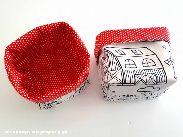mis nancys, mis peques y yo, cestas de tela reversibles, con tela de Ikea
