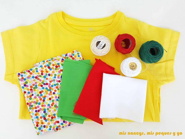 mis nancys, mis peques y yo, tutorial como personalizar camisetas, aplique de manzana, materiales