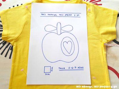 mis nancys, mis peques y yo, tutorial como personalizar camisetas, aplique de manzana, situar plantilla
