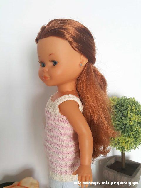 """mis nancys, mis peques y yo, tutorial jersey de punto para Nancy """"Fresa y nata"""", detalle disminuciones"""