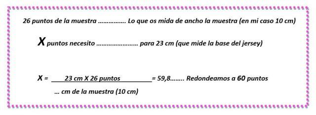 """mis nancys, mis peques y yo, tutorial jersey de punto para Nancy """"Fresa y nata"""", calculo de puntos base"""
