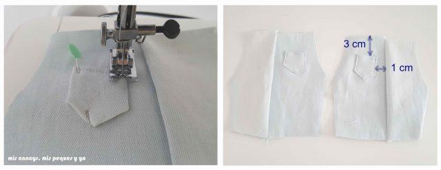 mis nancys, mis peques y yo, tutorial short vaquero para Nancy (patron gratis), coser bolsillos