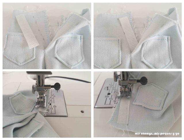 mis nancys, mis peques y yo, tutorial short vaquero para Nancy (patron gratis), colocar y coser velcro interior
