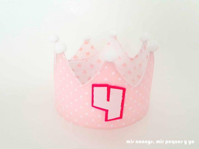 mis nancys, mis peques y yo, corona de cumpleaños de tela, corona reversible