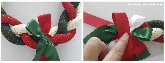 mis nancys, mis peques y yo, tutorial corona de navidad trenzada, ir realizando bucles con las cintas