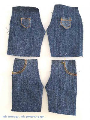 mis nancys, mis peques y yo, tutorial pantalón corto para Nancy, modelo short vaquero deshilachado, piezas