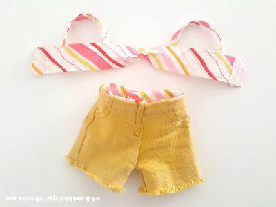mis nancys, mis peques y yo, tutorial pantalón corto para Nancy, modelo short vaquero de color deshilachado, piezas