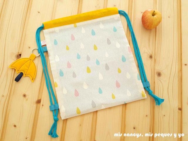 mis nancys, mis peques y yo, mochilas de tela infantiles, mochila con estampado de lluvia de colores