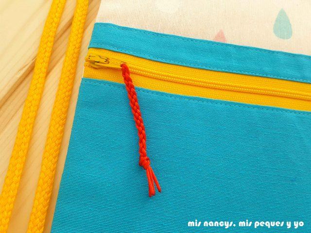 mis nancys, mis peques y yo, mochilas de tela infantiles, detalle cordón trenzado en cremallera