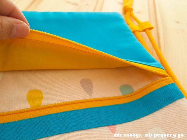 mis nancys, mis peques y yo, mochilas de tela infantiles, detalle forro interior del bolsillo