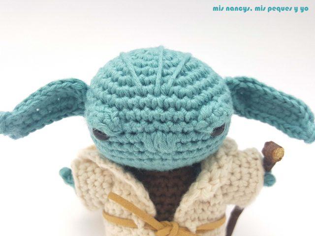 mis nancys, mis peques y yo, Yoda amigurumi Star Wars, detalle cabeza