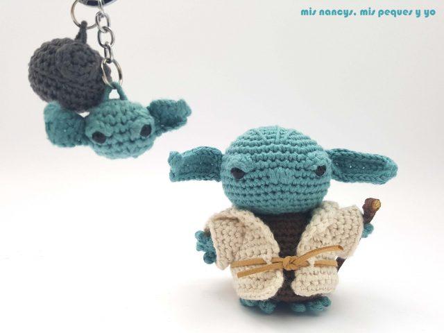 mis nancys, mis peques y yo, Yoda amigurumi Star Wars con llavero amigurumi Star Wars