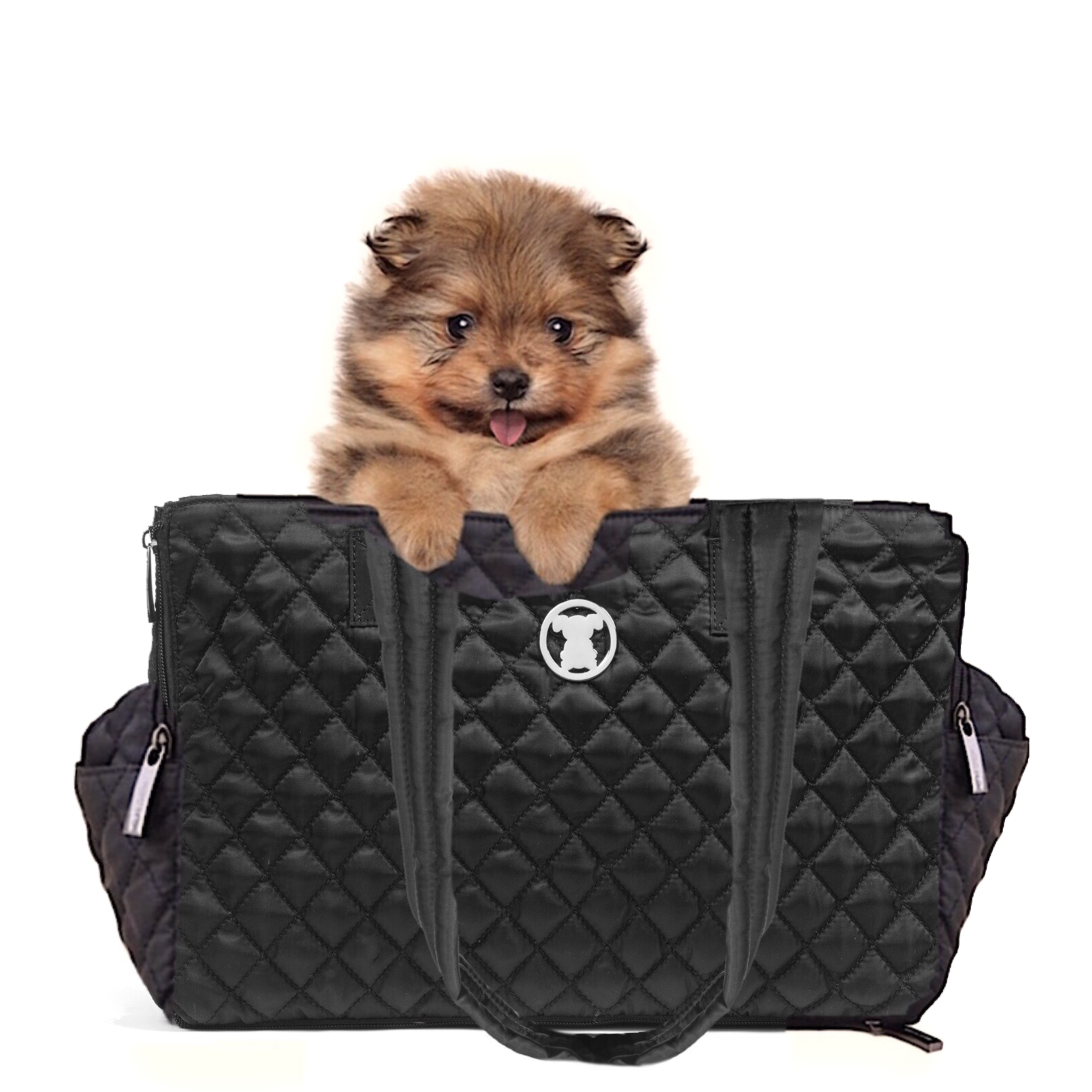 Black Quilted Shell Tote