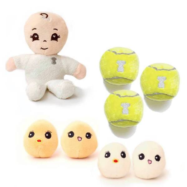 Miso Pup Mini Dog Toys , Real Size Eggs, Mini Plush Tennis Balls and a Baby Doll for Baby Dogs