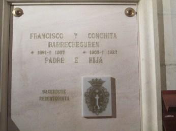 Sepulcro de Francisco Y Conchita Barrecheguren. Foto: Francisco López