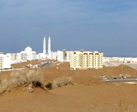 Toward the city, a mosque and the gulf.