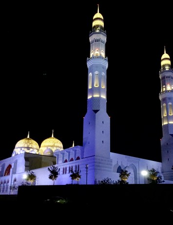 The mosque up close at night.