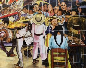 Detail of mural showing local vendors.