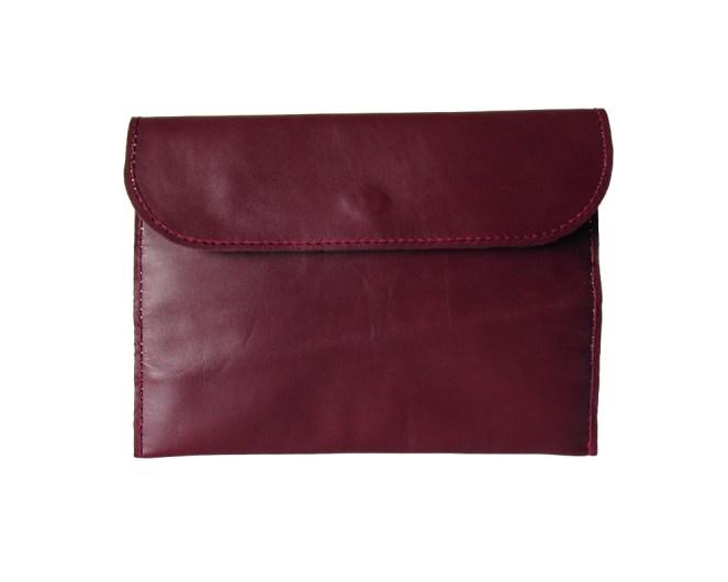 Hand stitched bordeaux leather clutch with black and white striped lining. One internal pocket with zipper. by misp (354) https://www.etsy.com/listing/211437421/