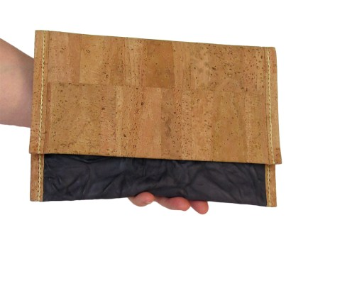 Hand stitched cork and gray wrinkled leather clutch with cork lining. by misp (399) https://www.etsy.com/listing/211431137/