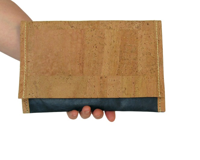 Hand stitched cork and blue leather clutch with cork lining. by misp (402) https://www.etsy.com/listing/211427219