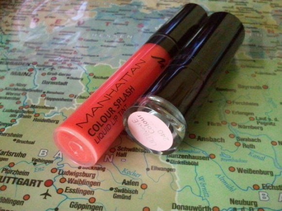 v.l.n.r.: Manhattan colour splash - liquid lip tint 94R red tulip, Catrice ultimate colour 240 hey nude