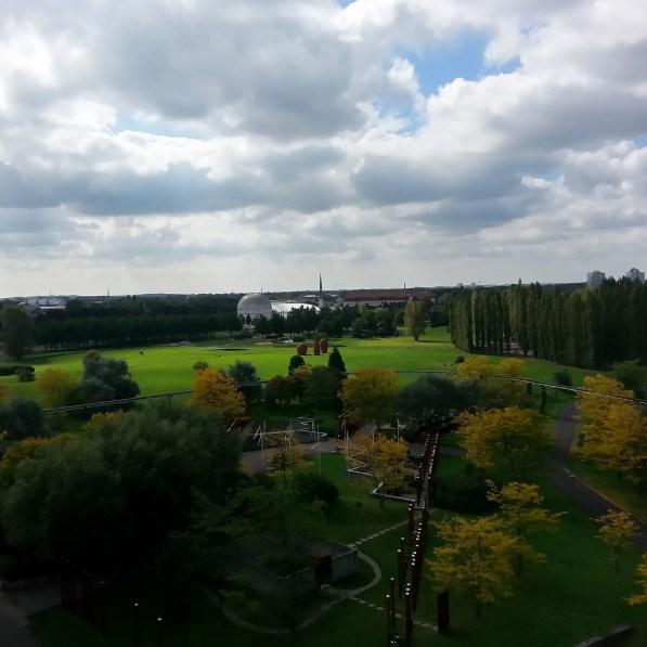 Blick über Elbepark vom Jahrtausendturm, Magdeburg