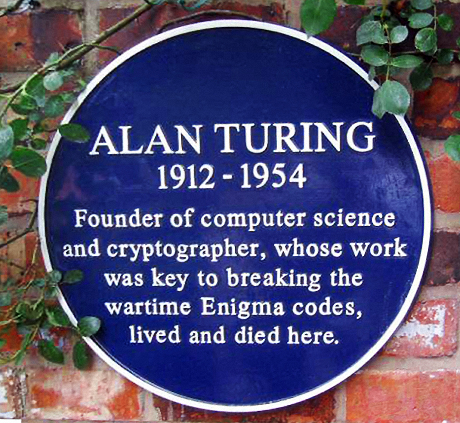 """Plaque marking Alan Turing's former home in Wilmslow, Cheshire. Author: Joseph Birr-Pixton from en.wikipedia  Creative Commons Attribution-Share Alike 3.0 Unported. Found on: <a href=""""https://commons.wikimedia.org/wiki/File:Turing_Plaque.jpg"""" target=""""_blank"""" rel=""""noopener noreferrer"""">https://commons.wikimedia.org</a>"""