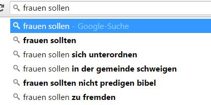 """Mein eigener Test zum """"Frauen sollen ...""""-Dilemma.  Screenshot vom 13.02.2016"""