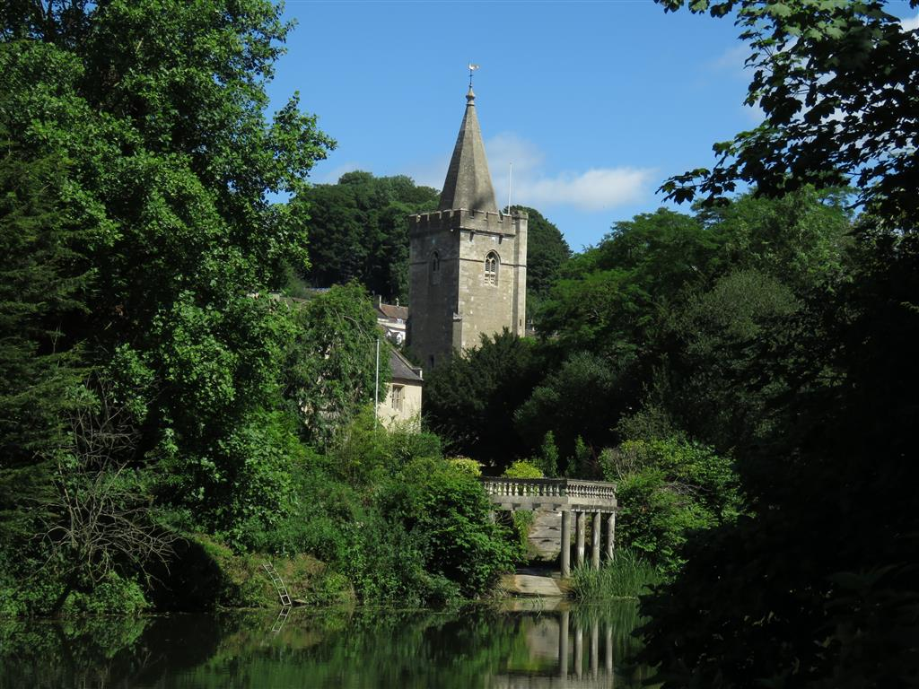 Reflections of a church in Bradford on Avon, Wiltshire