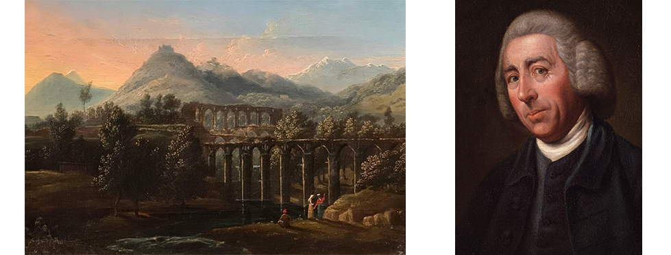 "Italian landscape painting and portrait of Lancelot ""Capability"" Brown."