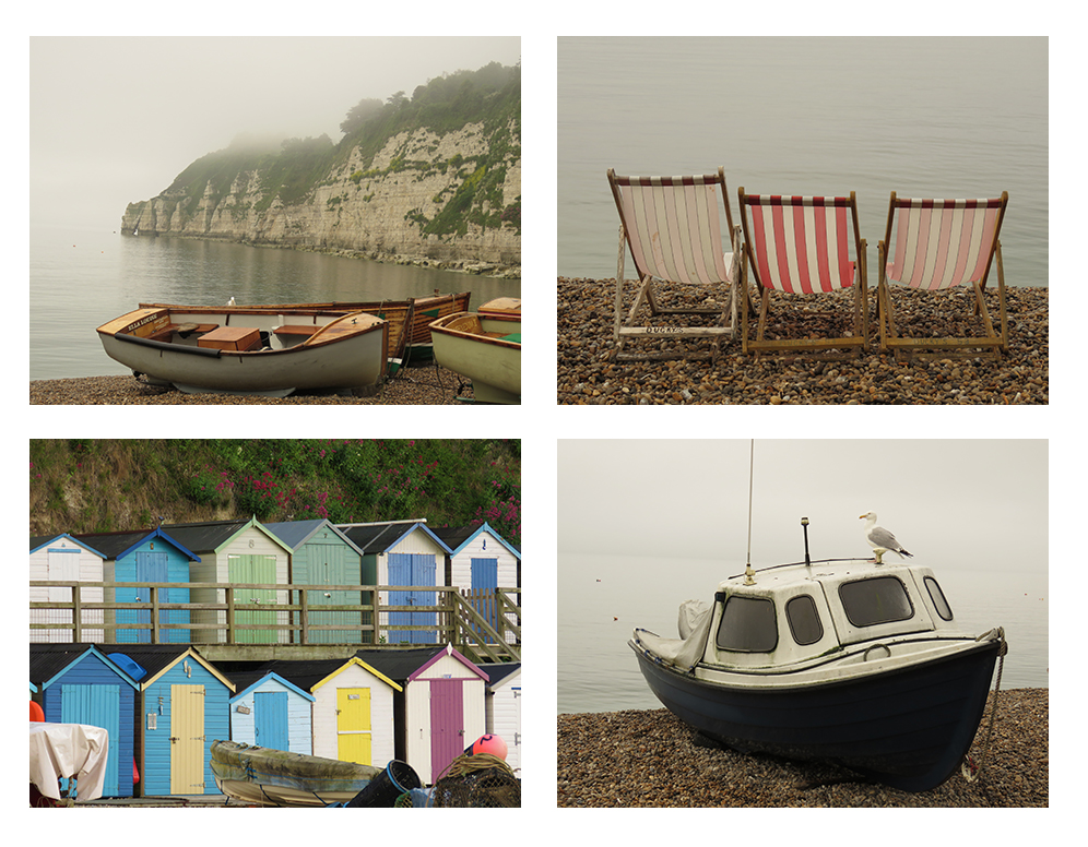Photographs of deck chairs, beach huts, and fishing boats along Beer's harbour