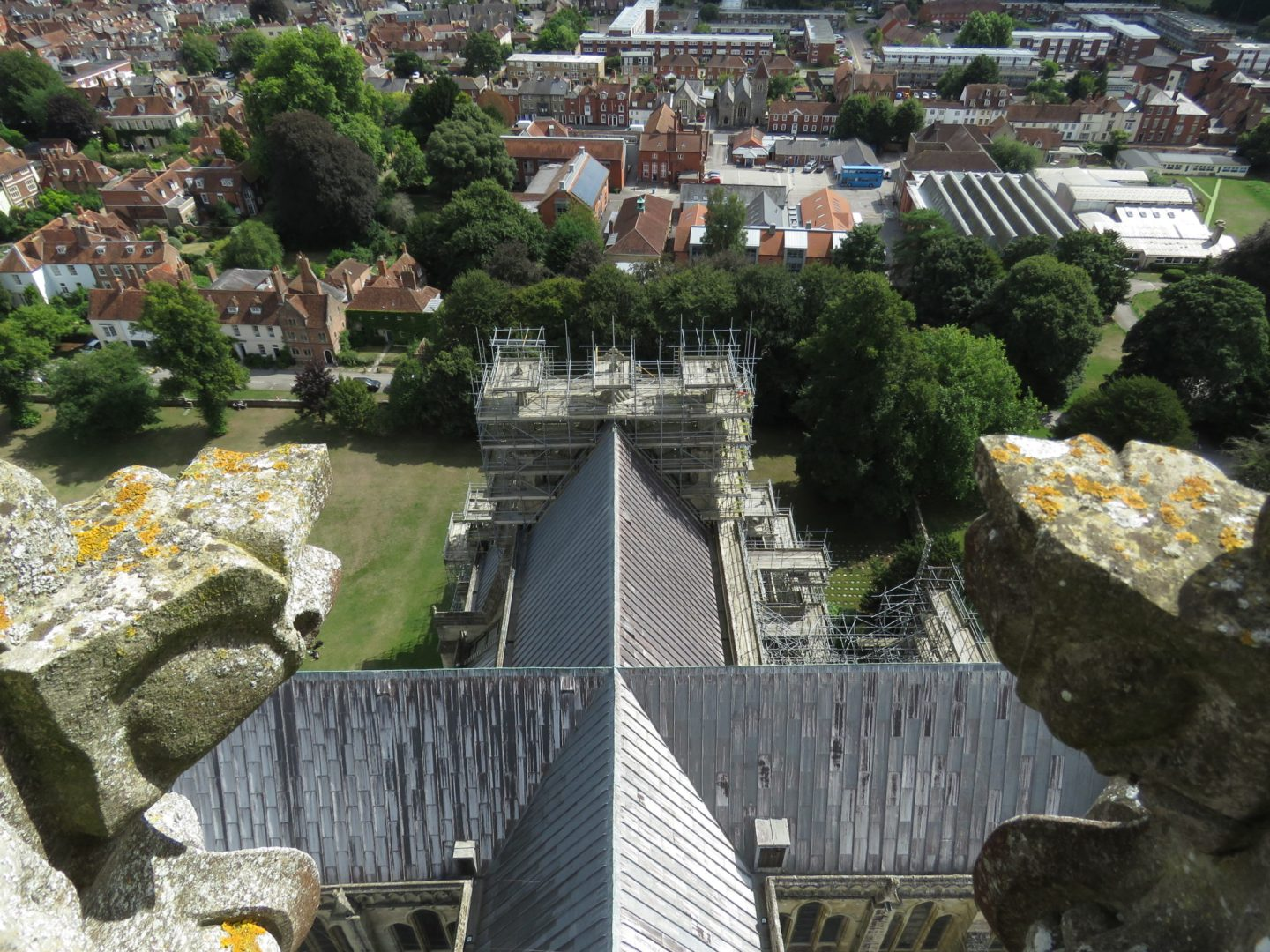 Aerial view from Salisbury Cathedral Tower Tour