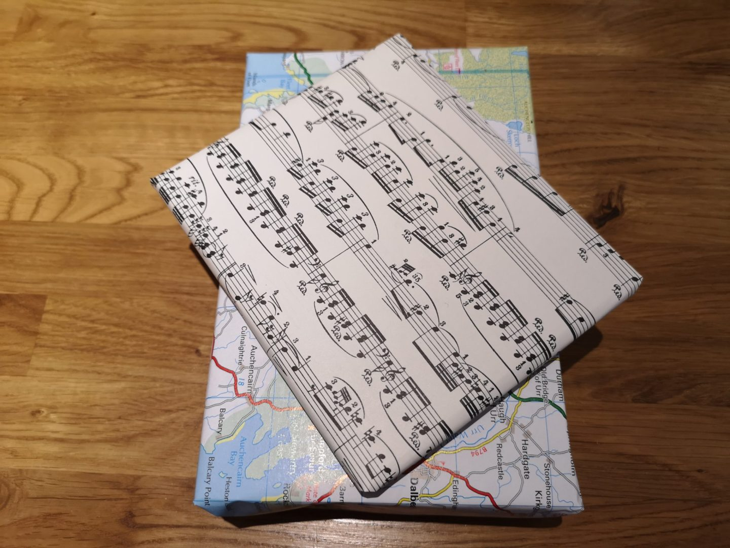 Map and sheet music gift wrap