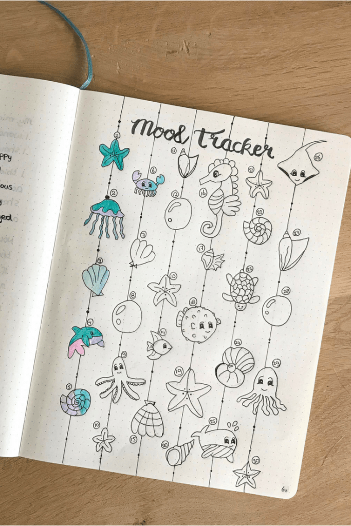 Plan with me august bullet journal theme. Ocean-themed bullet journal. summer bullet journal ideas. Sea creatures doodles