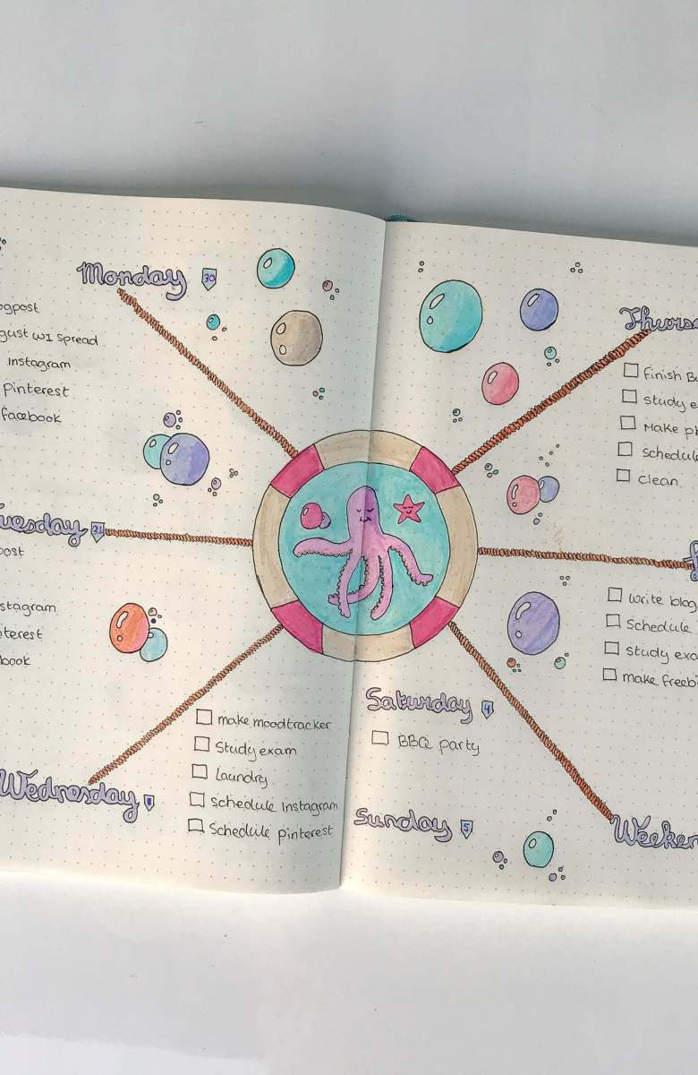 bullet journal august week 1 spread   bullet journaling plan and organize your life   plan with me bullet journal community - seacreature underwater theme jellyfish squid drawing   tombow #bujo #bulletjournal #planner #planning #drawing